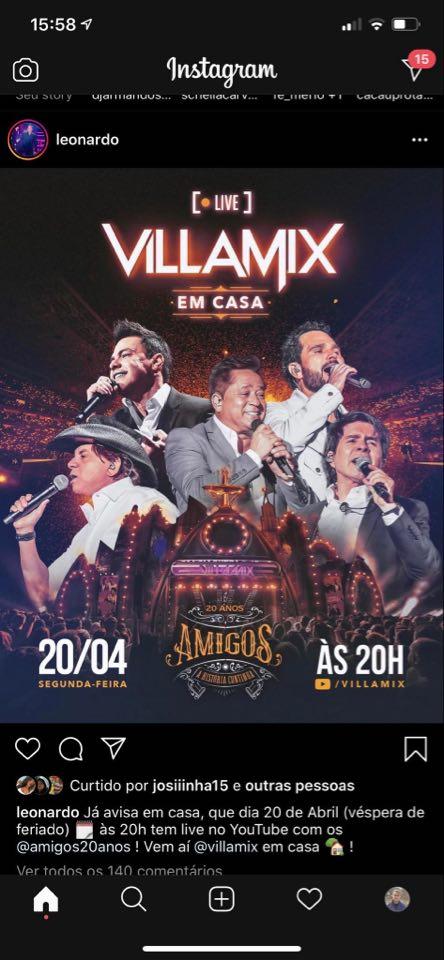 Leonardo, Zezé Di Camargo e Luciano, Daniel, entre outros, farão live no YouTube (Reprodução)