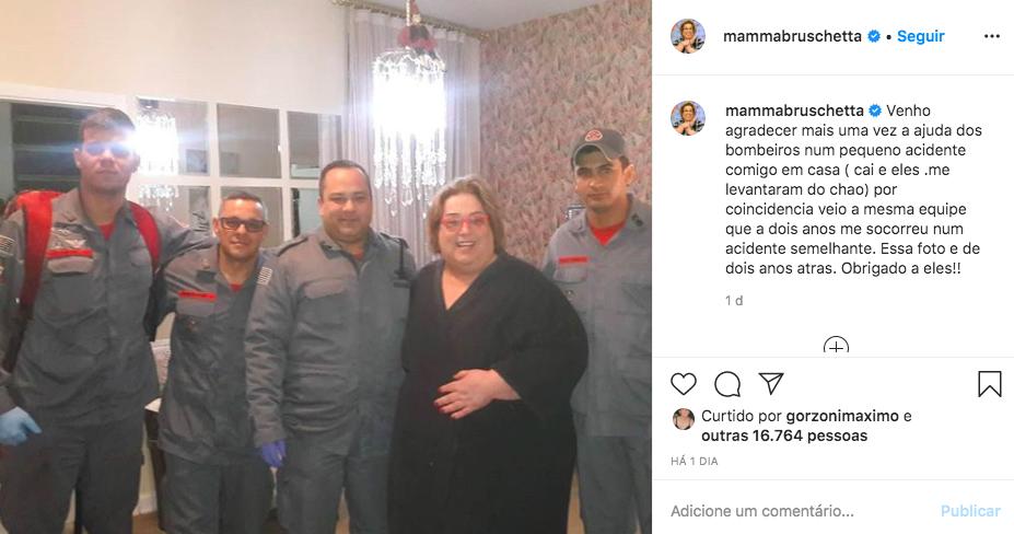 Mamma Bruschetta agradece bombeiros após atendimento (Foto: reprodução/Instagram)
