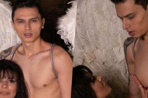 Mara Maravilha e Gabriel Torres em ensaio sensual (Foto montagem)