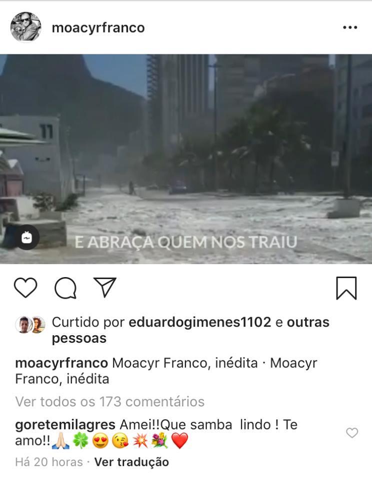 Gorete Milagres elogia música de Moacyr Franco no Instagram (Montagem: TV Foco)