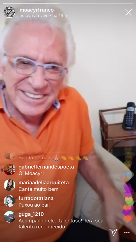 Moacyr Franco em Live na noite da última terça-feira (Imagem: Instagram)
