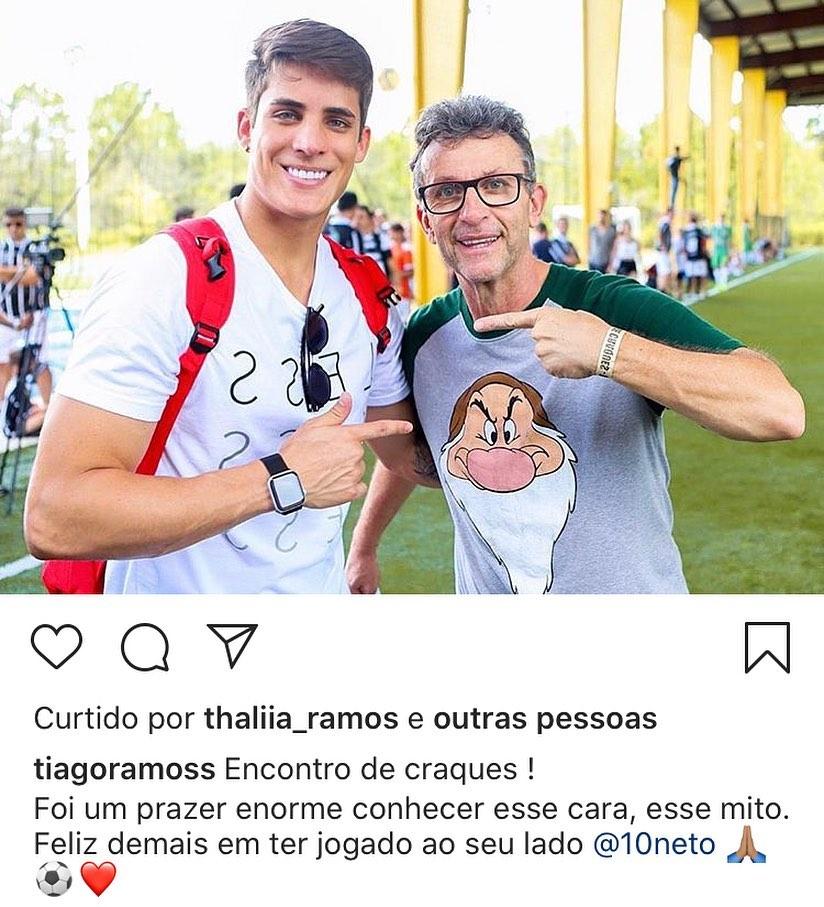 Neto postou foto ao lado do padrasto de Neymar, Tiago Ramos (Reprodução)