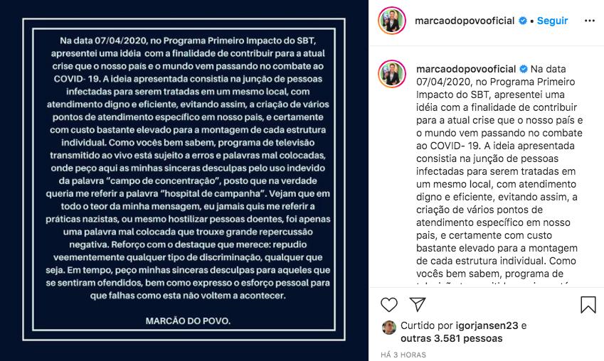 Marcão do Povo pede desculpas por falas polêmicas (Foto: Reprodução)