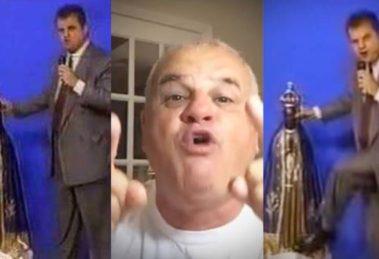 Pastor Sérgio Van Helde chocou o Brasil ao chutar imagem de Nossa Senhora de Aparecida na TV (Montagem: TV Foco)