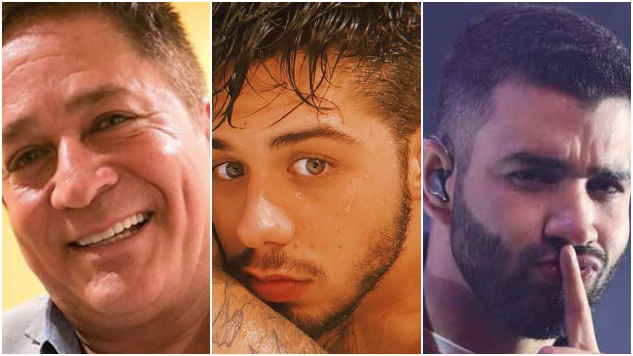 Gusttavo Lima surgiu ao lado de Zé Felipe e Leonardo e expôs segredo (Foto: Reprodução/ Montagem)
