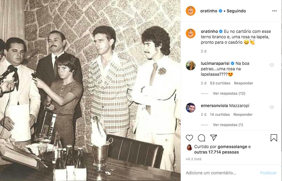 Ratinho posta foto antiga de seu casamento e internautas brincam com apresentador (Foto: Reprodução)