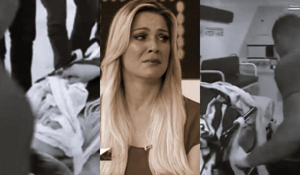 Renata Fan deixa Jogo Aberto na maca (Foto: Band)