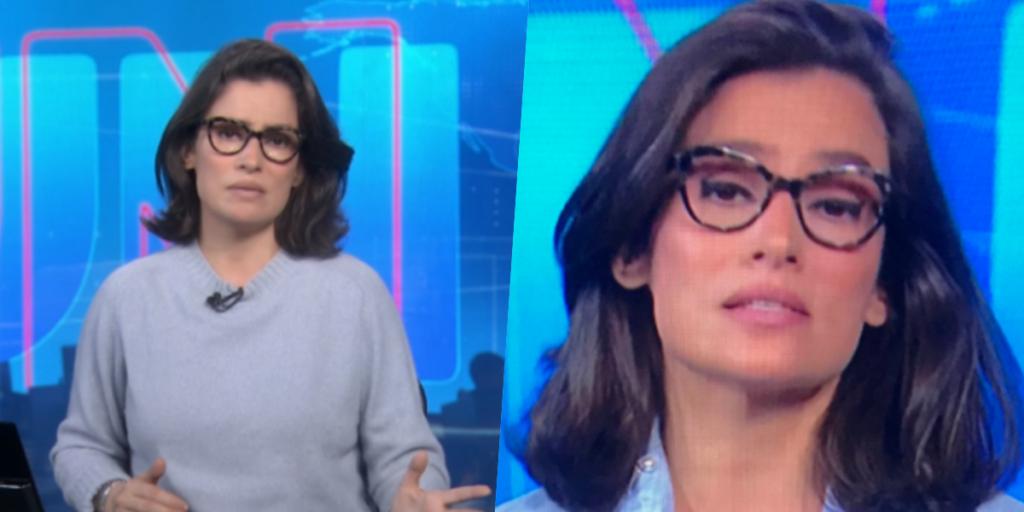 Renata Vasconcellos foi acusada de vestir roupa de William Bonner (Foto montagem: TV Foco)