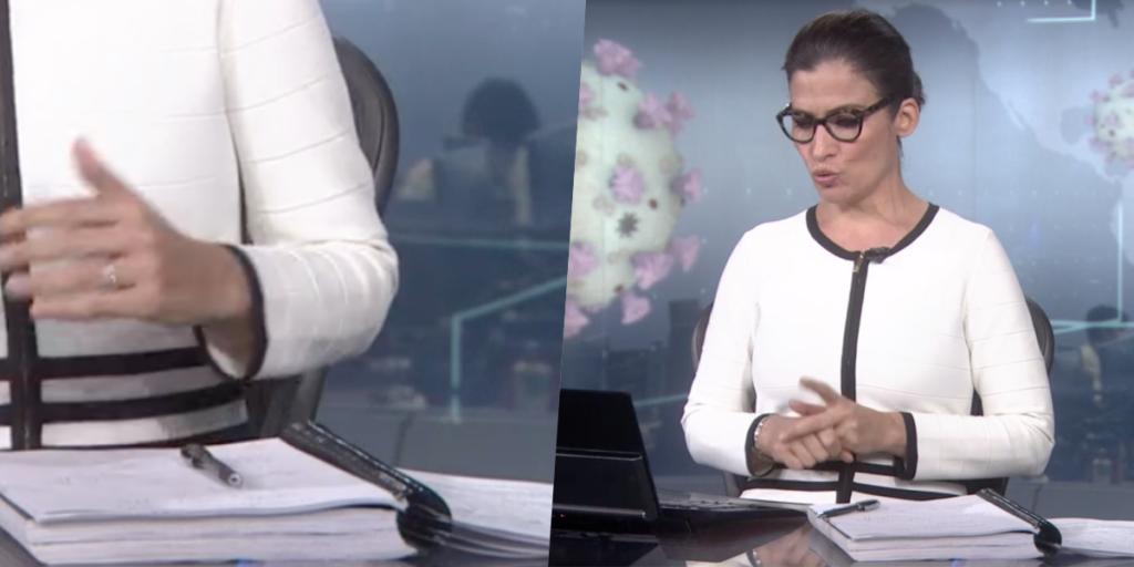 Renata Vasconcellos, ao vivo, no Jornal Nacional chamou a atenção pelo caderno na emissora (Foto montagem: TV Foco)