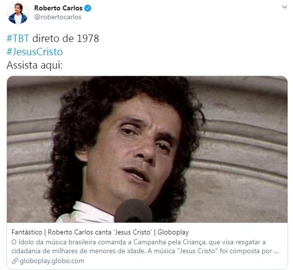 Roberto Carlos em seu Twitter (Foto: reprodução)