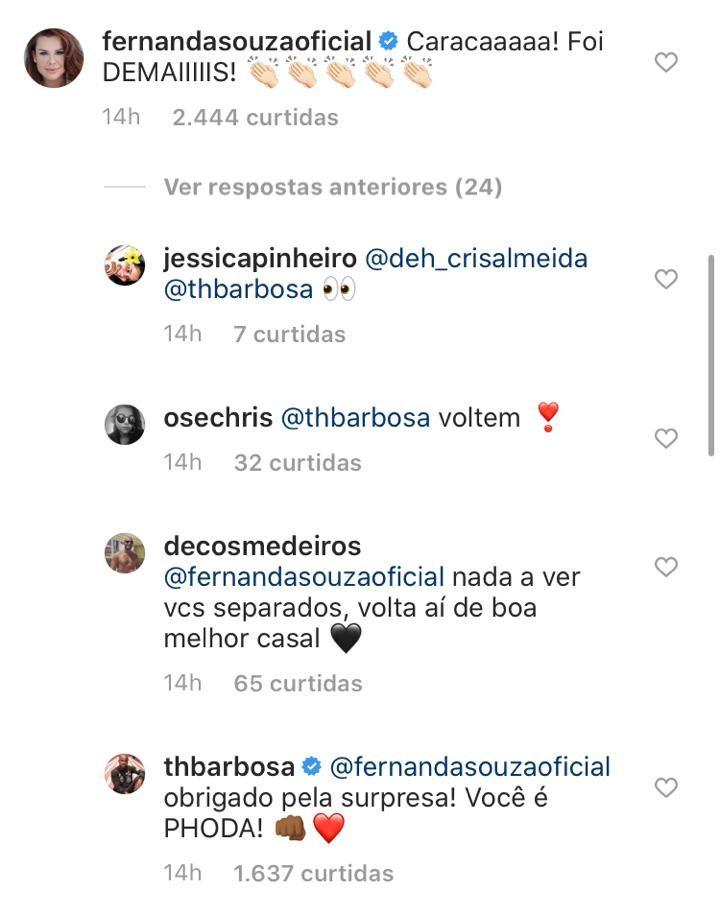 Thiaguinho e Fernanda Souza trocaram comentários nas redes sociais e deixaram os fãs eufóricos - Foto: Reprodução