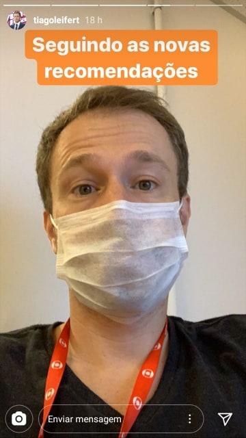 globo Tiago Leifert posou com máscara no rosto (Reprodução: Instagram)