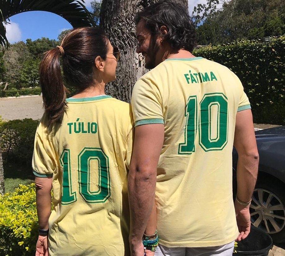 Fátima Bernardes e Túllio Gadêlha juntos, como namorados, na Copa de 2018 (Reprodução)