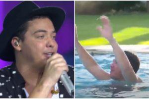 Wesley Safadão pulou na piscina sem roupa em live - Foto: Reprodução