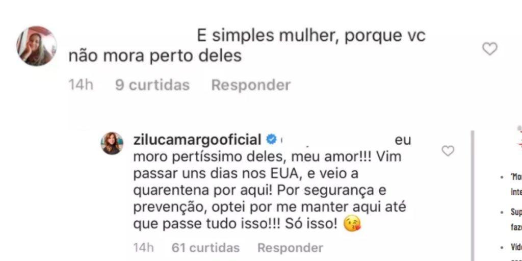 Zilu Camargo respondeu seguidora sobre saudade dos filhos (Foto montagem: TV Foco)