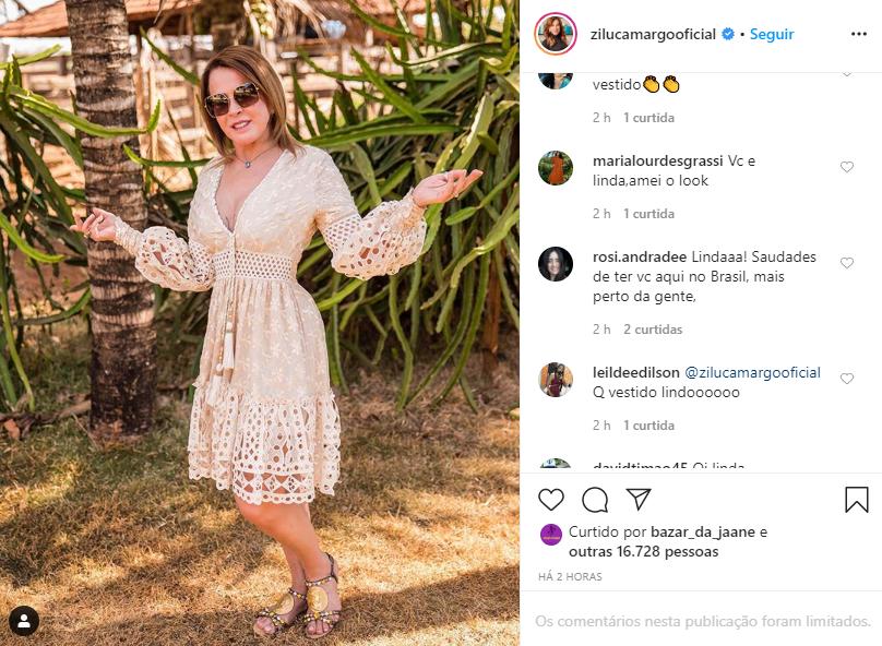 Zilu Godoi surgiu de vestido e rasgou elogios (Foto: Reprodução/ Instagram)