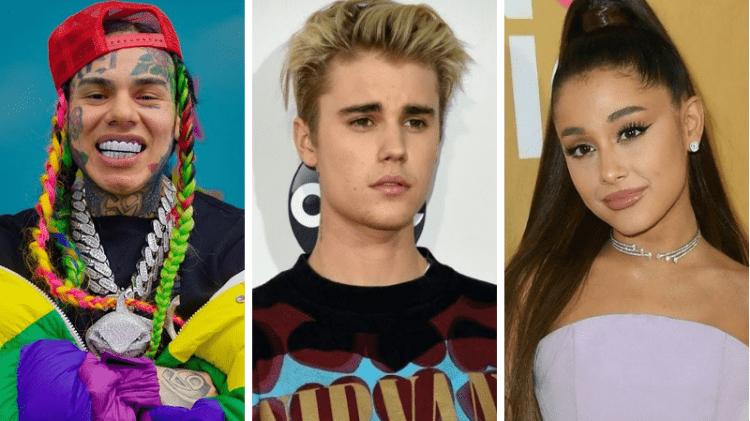 Justin Bieber e Ariana Grande são acusados de comprarem colocações nas paradas de sucesso (Foto: Reprodução)