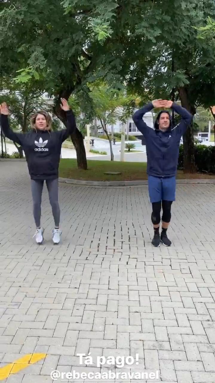 Rebeca Abravanel e Pato fizeram atividades físicas juntos (Foto: Reprodução/Instagram)