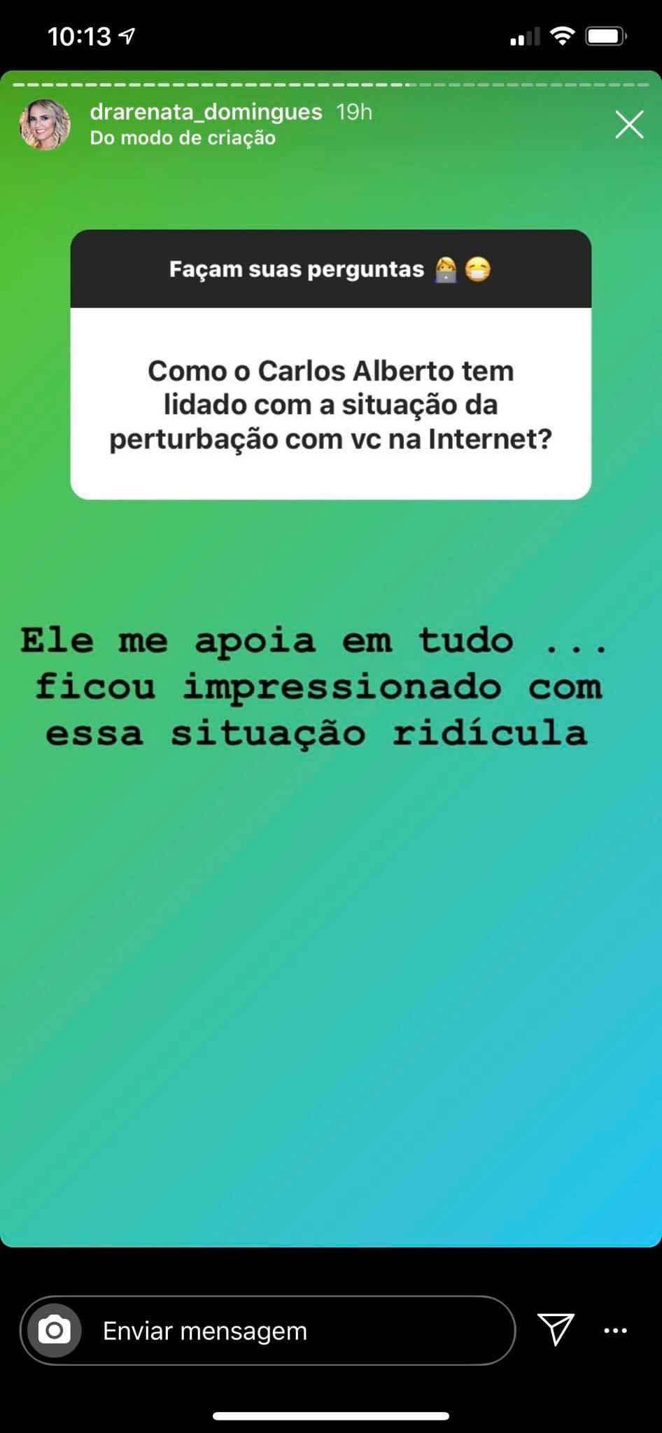 Renata Domingues conversou com fãs nas redes sociais (Foto: Reprodução/Instagram)