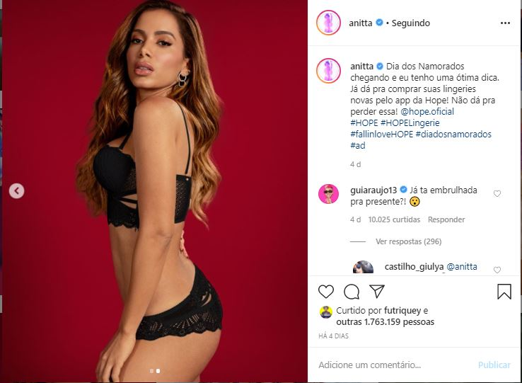 Anitta ganha comentário de namorado (Foto: Reprodução)