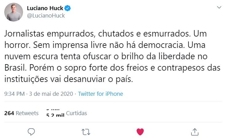 Publicação de Luciano Huck (Foto: Reprodução)