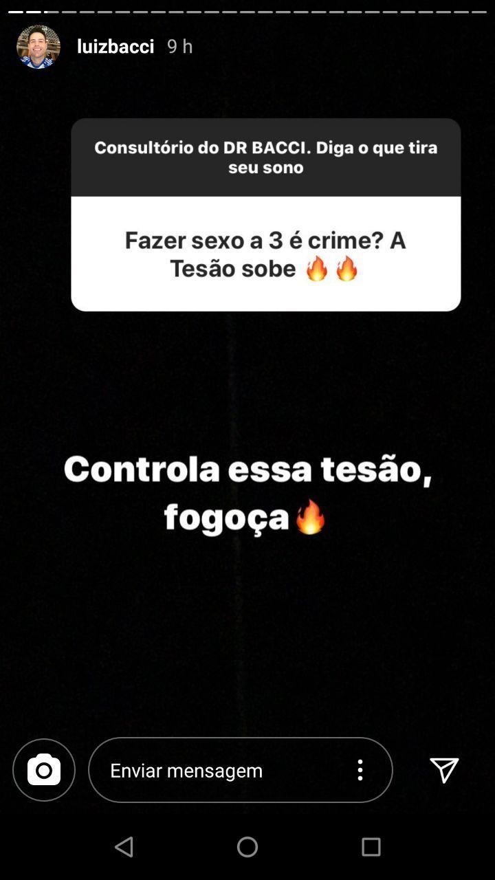Luiz Bacci responde pergunta sobre sexo a 3 (Foto: Instagram)