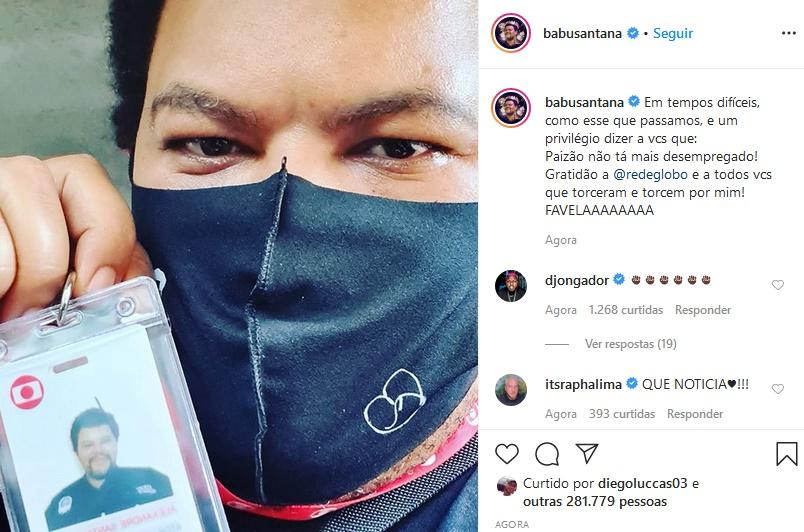 Babu Santana comemorou contratação pela Globo (Foto: Reprodução)