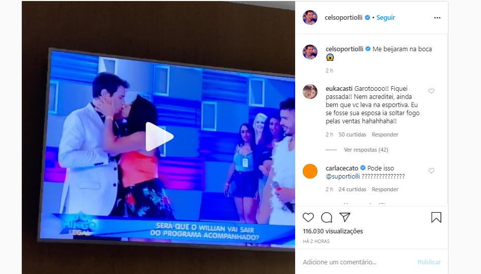 Celso Portiolli fala sobre beijo roubado em exibição do Domingo Legal (Foto: Reprodução/Instagram)