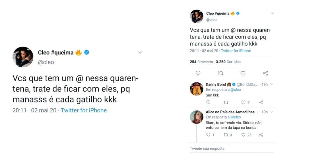 Atriz Cleo Pires fala sobre período de solteirisse em quarentena no twitter (Foto: Reprodução/Twitter)