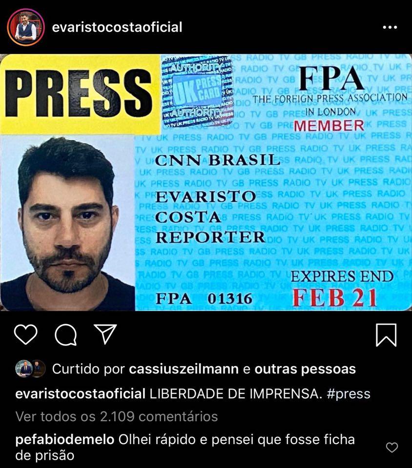 Publicação de Evaristo Costa (Foto: Reprodução)