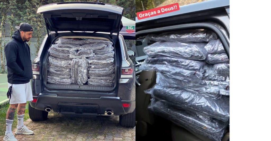 Felipe Titto distribui cobertores para moradores de rua (Foto: Reprodução/Instagram)