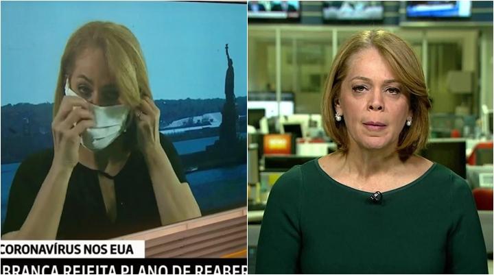 Repórter Sandra Coutinho foi flagrada sem máscara na Globo News. (Foto: Reprodução)