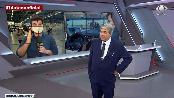 José Luiz Datena tira sarro de jornalista ao vivo (Foto: Reprodução)