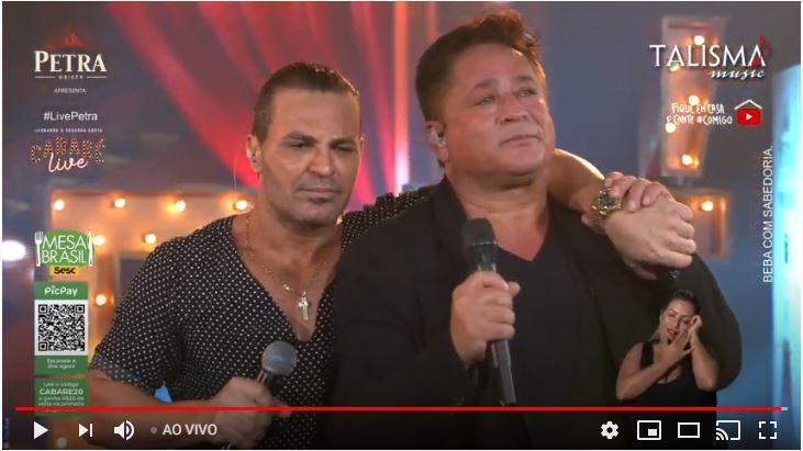 Leonardo e Eduardo Costa em live (Foto: Reprodução)