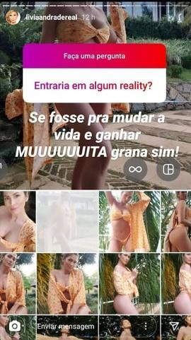 SBT: Publicação de Lívia Andrade em seus stories no Instagram (Foto: Reprodução)
