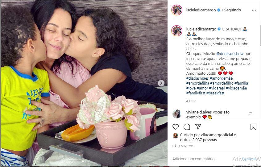 Luciele Camargo ganha homenagem com filhos de Denilson (Foto: Reprodução)