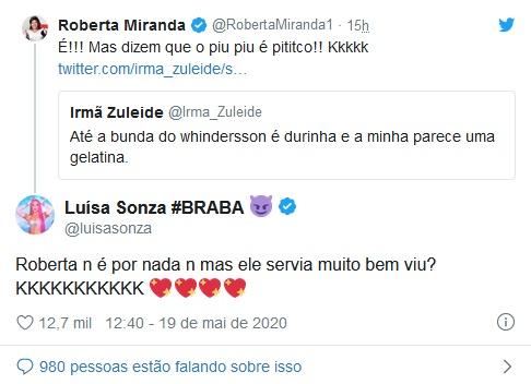 Publicação de Luísa Sonza em resposta a Roberta Miranda (Foto: Reprodução)