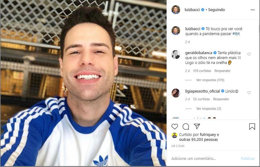 Luiz Bacci declara saudades nas redes sociais (Foto: Reprodução)