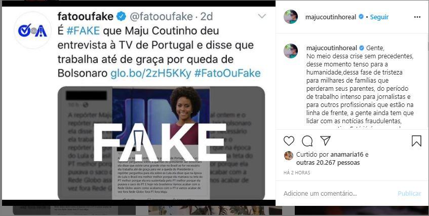 Maju fala de notícia falsa (Foto: Reprodução)