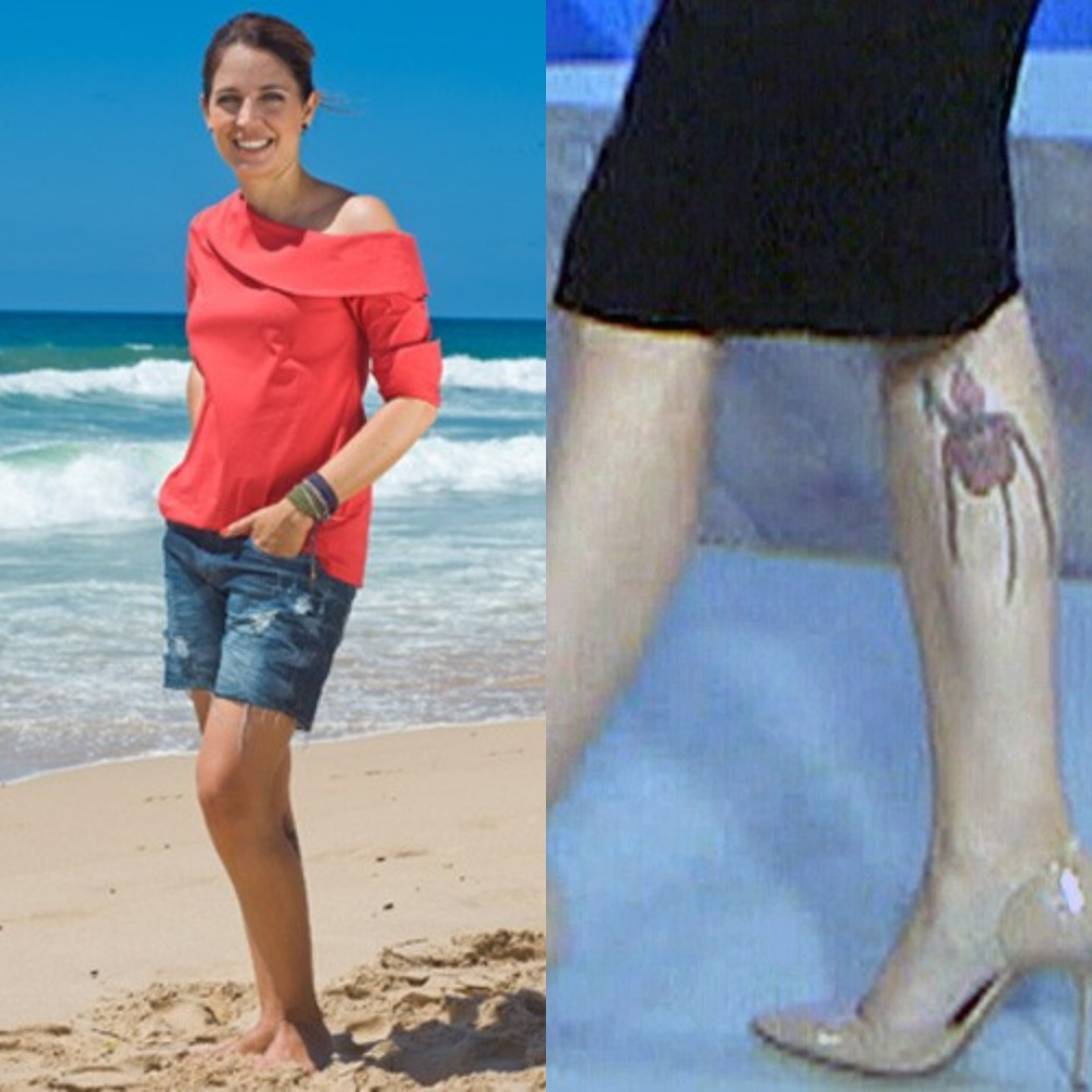 Poliana tem uma tatuagem enorme na panturrilha (Foto: Reprodução/TV Globo)