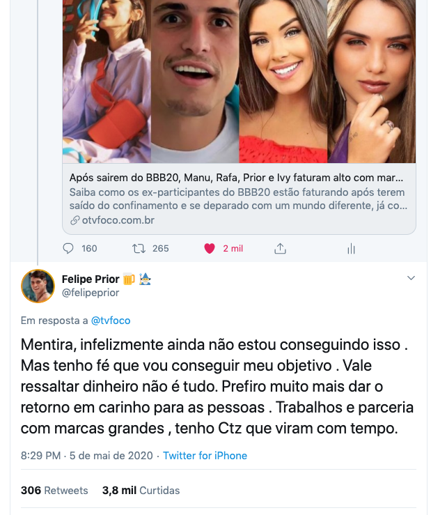 Resposta de Felipe Prior ao TV Foco sobre uma matéria (Reprodução/Twitter)