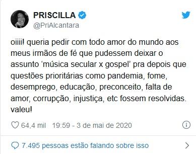 Twitter feita por Priscilla Âlcantara (Foto: Reprodução)