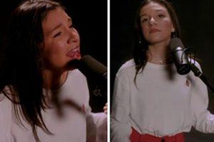 Priscilla Âlcantara causou polêmica ao cantar músicas seculares durante live show (Foto: Montagem/TV Foco)