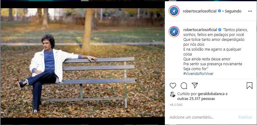 Roberto Carlos expõe canção (Foto: Reprodução)