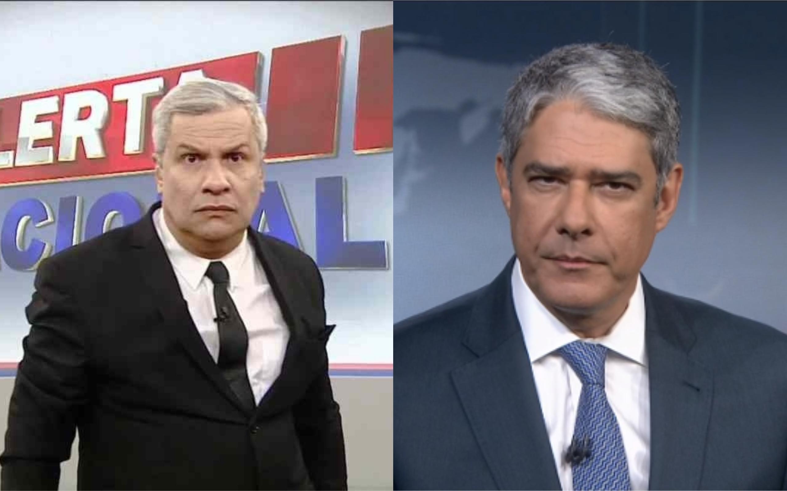 Sikêra Jr. e William Bonner (Foto: TV Foco)
