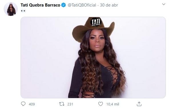 Publicação de Tati Quebra Barraco (Foto: Reprodução)