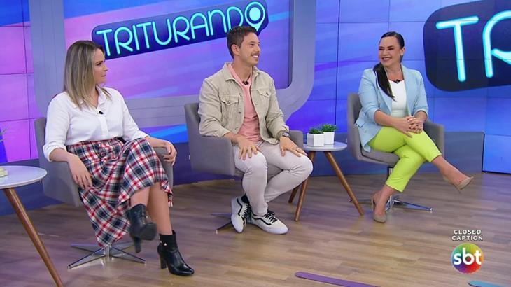 Ana Paula Renault, Gabriel Cartolano e Flor no Triturando (Foto: SBT)