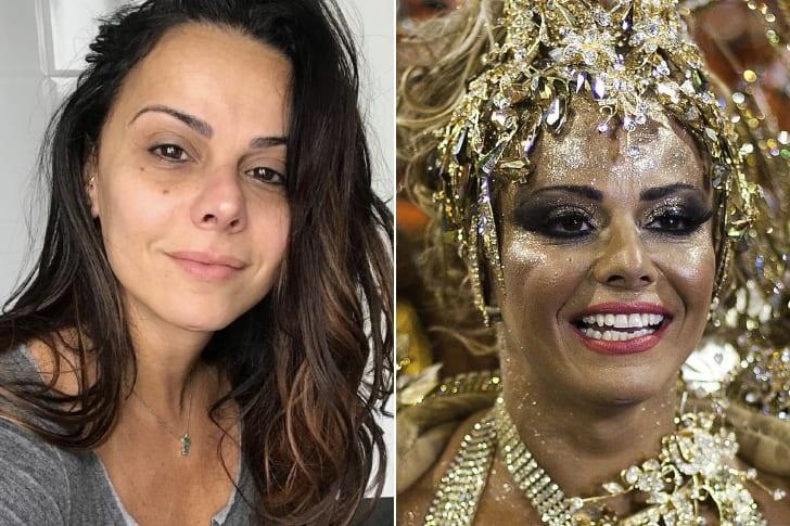 Viviane Araújo com e sem maquiagem (Foto: Montagem)
