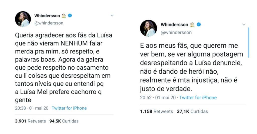 Após separação, Whindersson Nunes defende Luísa de ataques (Foto: Reprodução/Twitter)