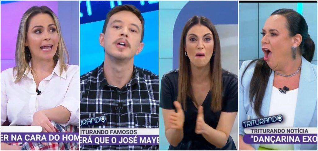 Os apresentadores do Triturando Ana Paula Renault, Gabriel Cartolano, Chris Flores e Flor, respectivamente (Reprodução) sbt